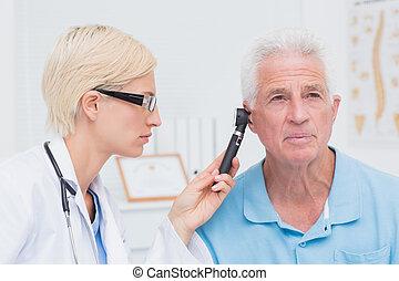 檢查, 病人, 男性, 耳朵, 醫生