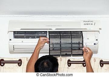 檢查, 空氣, 條件, 過濾器