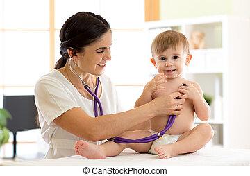 檢查, 醫生, 男孩, 女性, 孩子, 孩子