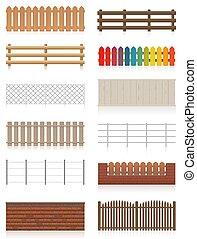 欄杆, 柵欄, 牆壁, 集合, 不同