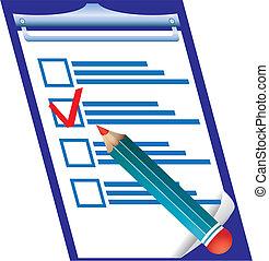 權利, 回答, 上, 檢查, 空白, 以及, pensil, 矢量, 插圖