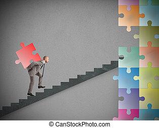 欠けている, 困惑, 建造しなさい, ビジネスマン, 新しい, 小片, 会社