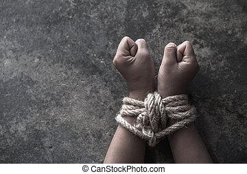 欠けている, 子供, 取引, 結ばれた, 誘拐された, に対して, concept., 痛み, 暴力, 人間, 乱用された, の上, ロープ, 犠牲者, 手, 子供
