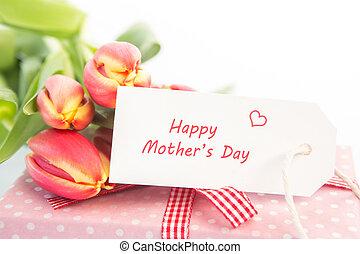 次に, カード, チューリップ, 贈り物, 母の日, 花束, 幸せ