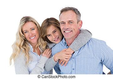 次に, 彼の, 届く, 妻, 父, 背中, 息子, 彼