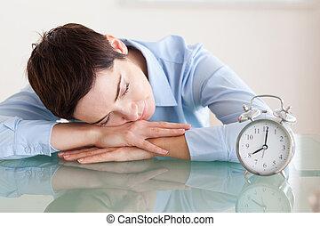 次に, 彼女, 机, 頭, 睡眠, alarmclock, 女