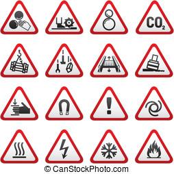 次元, セット, 警告, 危険標識
