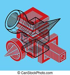次元, template., trigonometric, デザイン, ベクトル, 建設, 抽象的