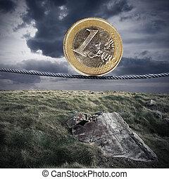 欧元货币, tightrope, 在中, the, 荒废, 风景
