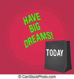 欲求, dreams., 動機づけ, 概念, 単語, ビジネス, goal., テキスト, 執筆, 未来, 大きい, 持ちなさい, 野心