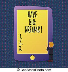 欲求, dreams., 動機づけ, 概念, 大きい, goal., テキスト, 意味, 未来, 持ちなさい, 野心, 手書き