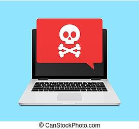 欺骗, 罐头猪肉, 笔记本电脑, 因特网, notification., 警报, 病毒, 计算机, 以联机方式, 或者...