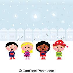 歌うこと, かわいい, carroling, クリスマス, 子供, 町