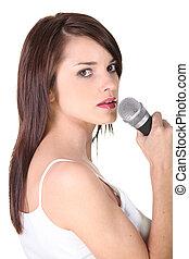 歌うこと, 女, ブルネット, 若い