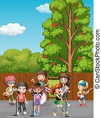 歌うこと, 子供, 音楽, 遊び, 道