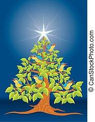 歌うこと, 木, クリスマス, 鳥