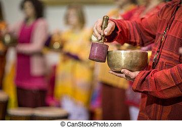 歌うこと, tibetian, ボール, 遊び, 人