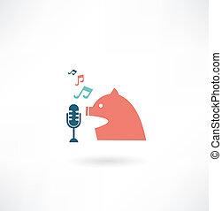 歌う, マイクロフォン, 歌手, アイコン