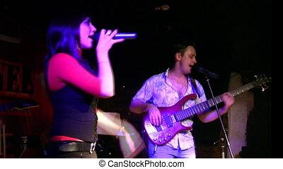 歌手, そして, ギター, 中に, クラブ