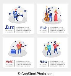 歌手, コンサート, 道具, banner., contrabassist, ジャズ, guitarist., イラスト, 特徴, ベクトル, 音楽, ポスター, 音楽家, ドラマー, artists., saxophonist, ミュージカル