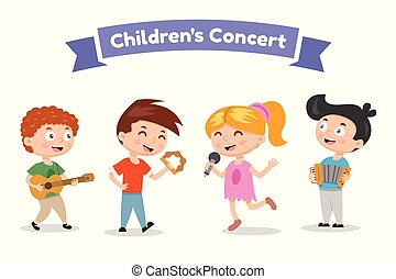 歌手, バンド, musicians., スタイル, イラスト, ミュージカル, バックグラウンド。, ベクトル, 白, 子供, 漫画