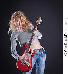 歌手, 彼女, guitar., 隔離された, 暗い, 岩, 感情的