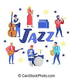 歌手, 特徴, 道具, contrabassist, set., ジャズ, guitarist., イラスト, ベクトル, 音楽, artists., 音楽家, ドラマー, saxophonist, ミュージカル