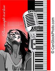 歌手, image., カバー, マイクロフォン, イラスト, ベクトル, ピアノ, パンフレット, 有色人種