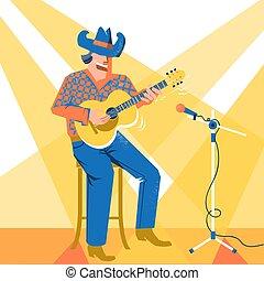 歌手, palying, コンサート, カウボーイ, 祝祭, 音楽家, guitar., 音楽, 帽子, 人