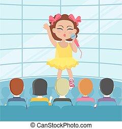 歌, audience., ベクトル, 前部, 女の子, 歌うこと