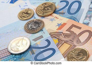 歐元鈔票, 以及, 硬幣
