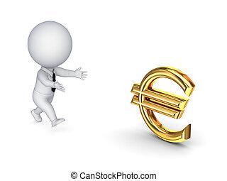 歐元, 人, 徵候。, 跑, 3d, 小