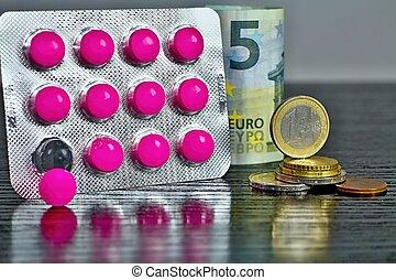 歐元, 錢, 以及, medicaments., eurocoins, 以及, pills.