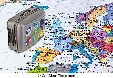 歐洲, 地圖, 以及, 旅行案件, 由于, 屠夫, (my, photos)