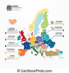 歐洲, 地圖, 概念, banner., 豎鋸, 插圖, infographic, 矢量, 樣板