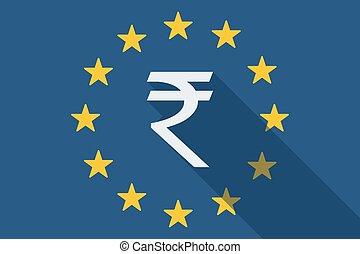 歐盟, 長, 陰影, 旗, 由于, a, 盧比, 簽署