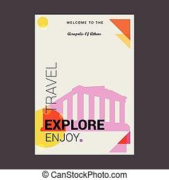 歓迎, へ, ∥, アクロポリス, の, アテネ, ギリシャ, 探検しなさい, 旅行, 楽しみなさい, ポスター, テンプレート