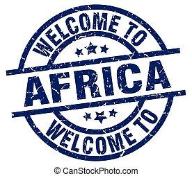 歓迎, へ, アフリカ, 青, 切手