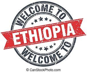 歓迎, へ, エチオピア, 赤, ラウンド, 型, 切手