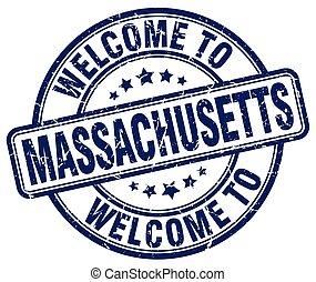 歓迎, へ, マサチューセッツ, 青, ラウンド, 型, 切手