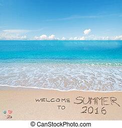 歓迎, へ, 夏, 2016, 書かれた, 上に, a, 熱帯 浜