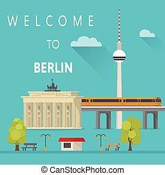 歓迎, へ, berlin., ベクトル, イラスト
