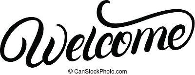 歓迎, 動機づけである, text., 書かれている手, インスピレーションを与える, lettering.