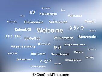 歓迎, 句, 中に, 別, 言語, の, 世界, 上に, 青, ぼやけた背景