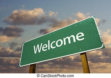 歓迎, 緑, 道 印