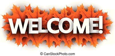 歓迎, leaves., 印, 秋, オレンジ, かえで