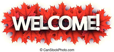 歓迎, leaves., 印, 秋, 赤いカエデ