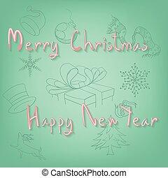 歡樂的聖誕節, 以及, 愉快, newyear