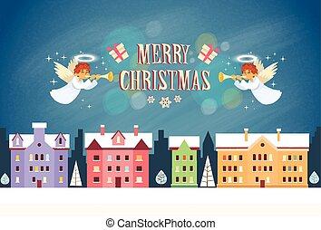 歡樂的聖誕節, 天使, 新年, 前夕, 夜晚天空, 房子
