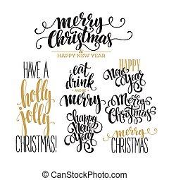 歡樂的聖誕節, 字母, 設計, set., 矢量, 插圖